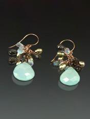 Chalcedony Precious Cluster Earrings