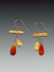 Peach stick pearls, carnelian and jasper drops, 14K earwires 1-1/4""