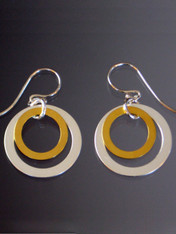 Mix and match these silver hoops with 24Kultraplate gold hoops inside and sterling earwires.  !""