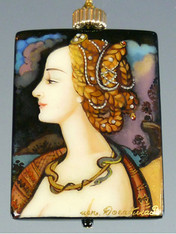 This hand-painted Russian lacquered miniature features a portrait of the beautiful Lucretzia Borgia in profile.The menacing serpent twisted around her gold necklace symbolizes her poisonous cunning.