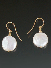 Grade AAA opulent 16mm white coin pearl and 14K rondel dangle from a 14K earwire or post.