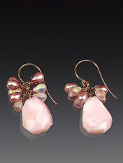 These charming earrings feature Grade AAA pink opal, precious clusters of rose quartz, freshwater pearls and other gems, and 14K earwires. 1-1/4""