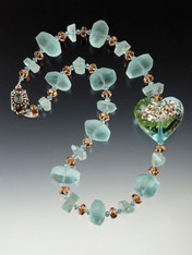 Aquamarine Venetian Glass Azure Heart Necklace LAST ONE