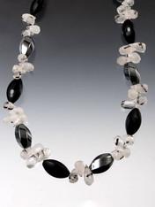 Amazing Onyx Hematite Tourmaline Quartz Briolette Necklace.