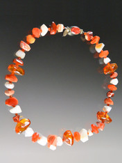 """Capture the glow of spring and summer with this lustrous collar featuring alternating Grade AAA faceted fire agate, white opal, and natural Baltic amber with a custom sterling spiny oyster clasp. 18"""""""