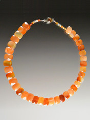 """One-of-a-kind Grade AAA collar of faceted carnelian """"chicklets"""" form an elegant nesting 18"""" collar."""