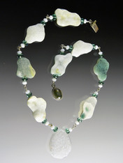 """Make a unique statement with this one-of-a-kind ocean jasper Brazilian druzy necklace. 19"""""""