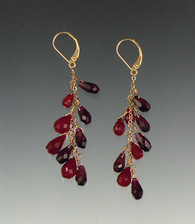 Elegant ruby and garnet briolettes dangle on a 14K chain 2""