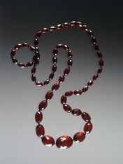 Authentic Art Deco Faceted Cherry Amber Long Necklace