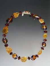 Citrine Venetian 24K Amber Ruby Pebble Necklace