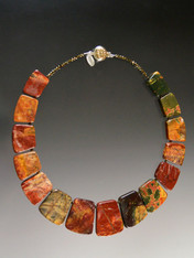 """My personal favorite, this stunning collar of intricately patterned multi-color Picasso Jasper is the epitome of fall foliage with flashes of orange, red, olive and deep green and gold.  No two identical but all equally beautiful.18"""""""
