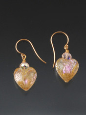 These delightful iridescent pink gold shimmering dichroic heart earrings are topped with a Swarovski crystal suspended from 14K earwires.  They're all you need to make a statement 1""