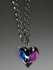 "nag this dramatic authentic Venetian Glass Dichroic Heart on a 28"" Gunmetal Chain flashing colors of violet, blue, green and a whole rainbow."