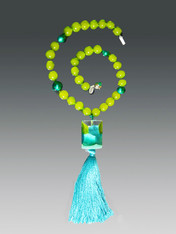 Venetian Arlecchino Aqua Tassel Necklace