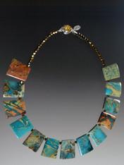 Blue Serpentine Geometric Collar