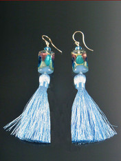 "These miniature pale blue,aqua 24K arlecchinno cubes with 2"" pale blue silk tassels make a dramatic statement on their own or paired with the matching tassel necklace. More colors coming"