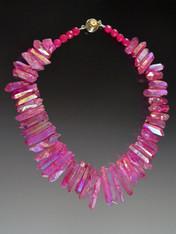 "This bold statement collar features iridescent rose fuschia quartz ""needles"" for a lightweight yet super strong summer look.  18"""