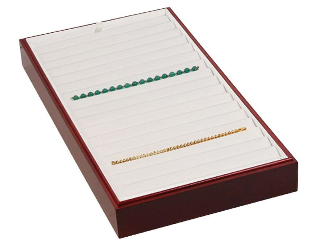 "Stackable 18 Bracelet Tray - Rosewood with White Leather,18"" x 9 1/2"" x 1 7/8""H"