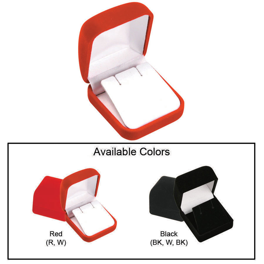 """Soft Flocked Velour Earring Box, 2"""" x 2 1/4"""" x 1 3/8"""", Choose from various Color"""