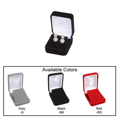 "Velvet metal earring box, 1 7/8"" x 2 1/8"" x 1 1/2""H , Choose from various Color"