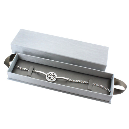 "Steel Grey Bracelet/Watch Box with Ribbon , 8 5/8"" x 2 3/8"" x 1 3/8"","
