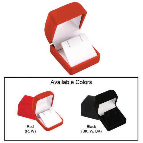 """Soft Flocked Velour Earring Box, 1 3/4"""" x 17/8"""" x 1 1/2"""", Choose from various Color"""