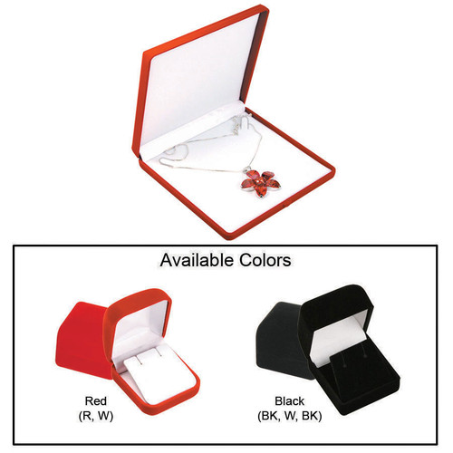 """Flocked Velour Necklace Box, 6 3/8"""" x 6 3/8"""" x 1"""", Choose from various Color"""