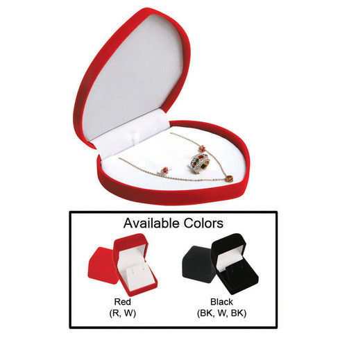 """Soft Flocked Velour Heart Shaped Combo. Box, 6 1/2"""" x 6"""" x 1 3/8"""", Choose from various Color"""