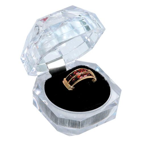 "Crystal clear ring box, 1 3/4"" x 1 3/4"" x 1 3/4""H ,Diamond cut"
