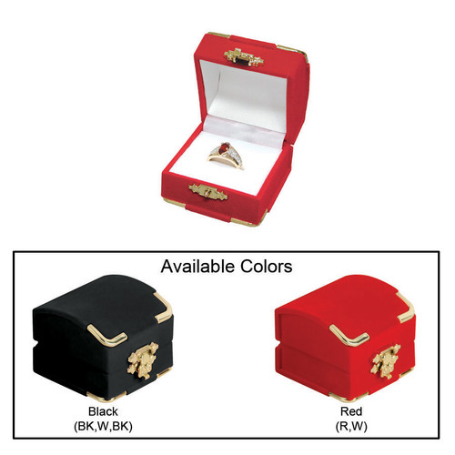 """Flocked Velour Clasped Ring Box ,  2 1/8"""" x 2 1/8"""" x 1 3/4""""H , Choose from various Color"""