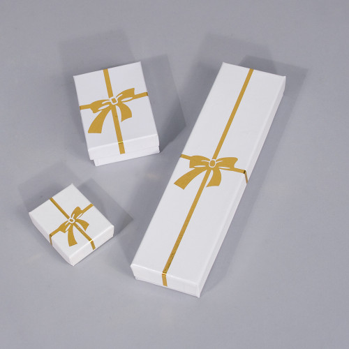 Glossy White - Gold Bow Cotton Filled Boxes (Choose from various sizes), price for 100pcs
