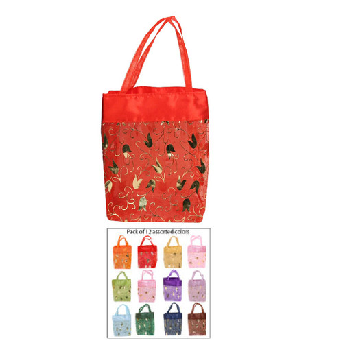 "Assorted 12 Color Sheer Organza Tote, 3 1/2"" x 2 3/4"" x 4 1/2"",Leather Drawstring Pouch, 5"" x 3"" x 7""H, price for 12 pieces"