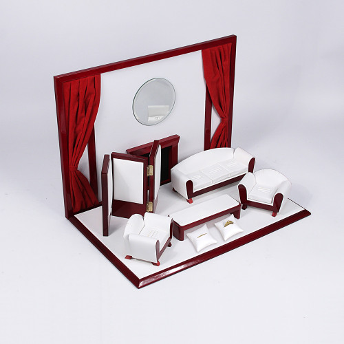 "9-Piece Mini Furniture Set, 16 1/2"" x 10 1/4"" x 12""H, White Faux Leather with Rosewood Trim"