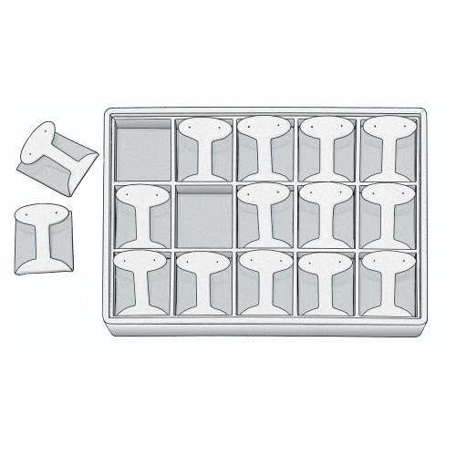 "Stackable Earring Tray,  12 1/2"" W x 8 3/4"" D x 1 7/8"" H ET1215 (WH)"