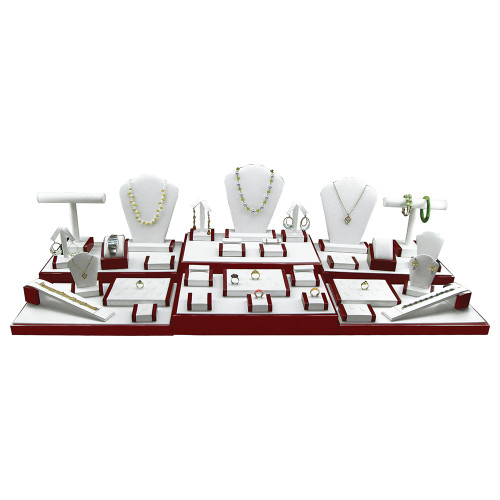 """35-Pieces Display Set , 44 1/4""""W x 16 1/2""""D x 10 3/4""""H, White Faux Leather With Rosewood Trim"""