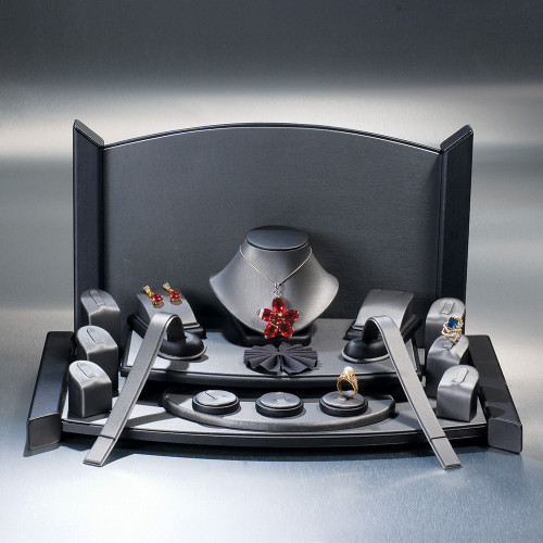 "19-Pieces Set, (Steel Grey Faux Leather with Black Faux Leather Trim),19"" x 11"" x 10 3/4""H"