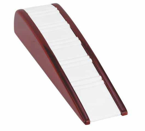 "4-Ring Slot,White Leather with Rosewood Trim Display, 2 1/8"" X 8 1/4"" X 1 3/4""h"