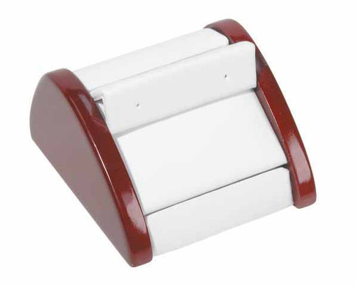 "1-Pair Earring ,White Leather with Rosewood Trim Display, 2 7/8"" x 3"" x 1 5/8""H"
