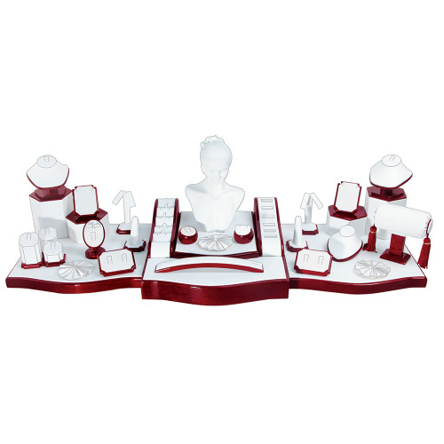 """33-Pieces, White Leather with Rosewood Trim Display Set, 36 1/2"""" x 13 3/4"""" x 11 1/2""""H"""