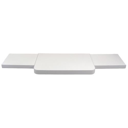 "3-Pieces White Faux Leather Base Set, 48""~69"" x 14"" x 2""H"