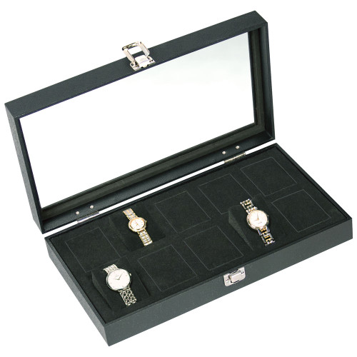 "Glass to View 10-Foam insert Watch Case, 14 3/4"" x 8 1/4"" x 3""H"