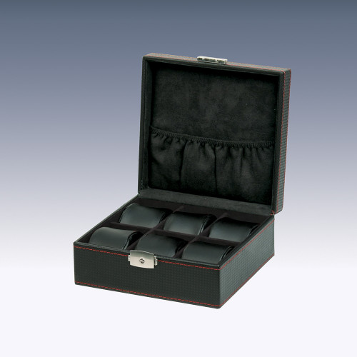 "6-Watch Wooden Box, Simulated Carbon Fiber Pattern case/ Suede Lining and Leather Pillows , 7"" x 6 5/8"" x 3 1/8""H"