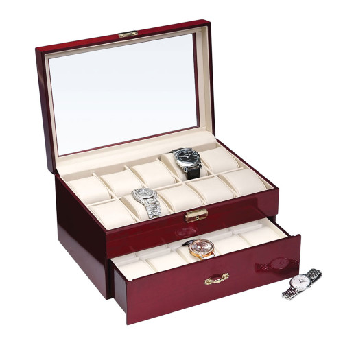 """Glass View, 20-Watches Rosewood/Beige Faux Leather Watches Case, 11 5/8"""" x 8"""" x 6 1/2""""H"""