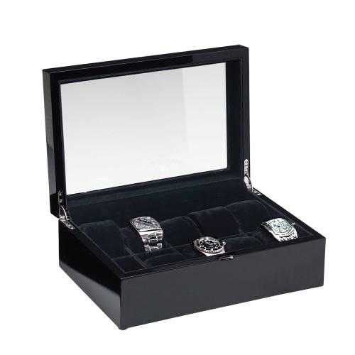 "Glass View, High Gloss Black Wood/ 10-Black Velvet Pillow Case, 12"" x 8 1/8""x 4""H"