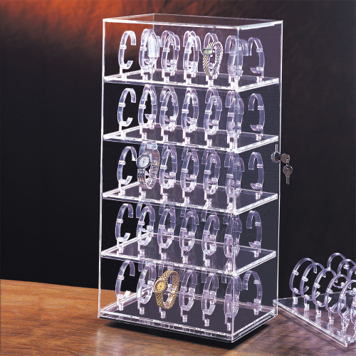 """60-Watches  Acrylic Display Case, 12"""" x 8 1/2"""" x 24 1/2""""H"""