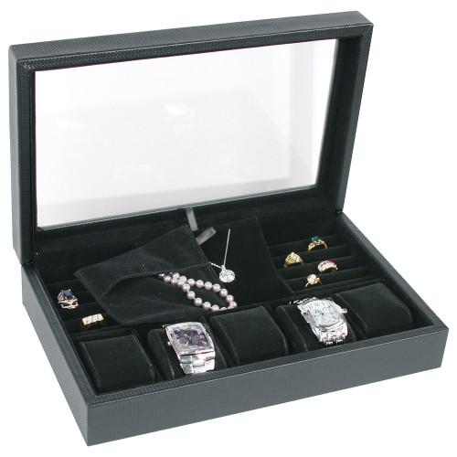 "Glass top Jewelry case, 13 3/4"" x 8 5/8"" x 2 7/8""H,"