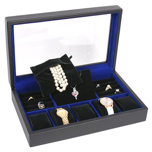"Glass top Jewelry case, 13 3/4"" x 8 5/8"" x 2 7/8""H"