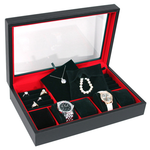 """Glass top Jewelry case, 13 3/4"""" x 8 5/8"""" x 2 7/8""""H,Carbon Fiber Pattern Leather,Red Suede section"""