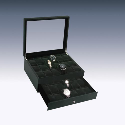 """Glass View, 36-Watches Black Carbon Fiber Pattern Leather/Black Velvet Pillow Case, 14 1/4"""" x 12"""" x 7 1/8""""H"""