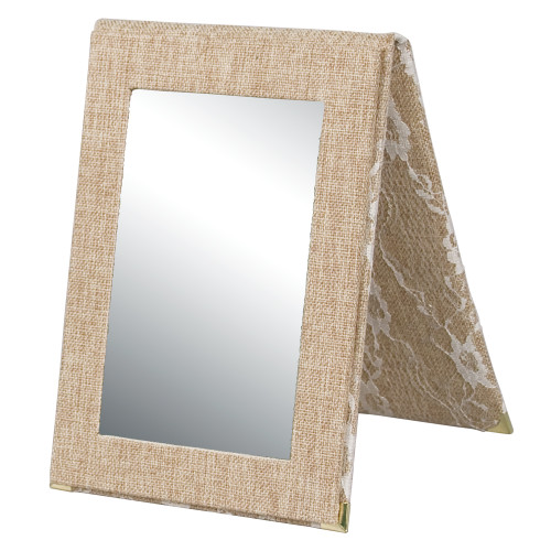 "Folding Glass Mirror, (Snap), 7 1/4"" x 10""H,Burlap with Lace"